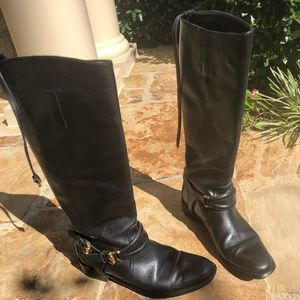 Burberry Black Leather Riding Boots